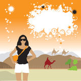 Tourist in desert, camels Royalty Free Stock Photo