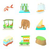 Tourist destination icons set, cartoon style. Tourist destination icons set. Cartoon set of 9 tourist destination vector icons for web isolated on white Royalty Free Stock Image