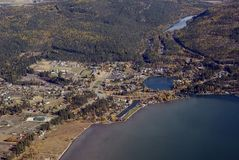 Tourist destination in Western Montana USA. Aerial view of Bigfork Montana a tourist destination in Western USA Stock Images