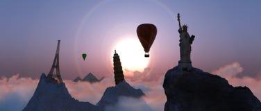Tourist destinations in the world. 3D illustration of sunset and tourist destinations in the world stock illustration