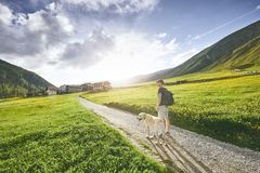Tourist with dog in countryside Stock Photos
