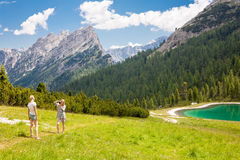 Tourist in the Dolomites royalty free stock images
