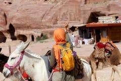 Tourist and Donkeys amongst the sandstone desert landscape of Petra, Jordan Royalty Free Stock Photo