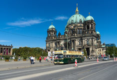 Tourist double decker bus on background Berliner Dom Stock Photography