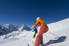 Tourist downhill skiing. Alpine ski downhill in winter landscape (Italy-solda-ortles-south tyrol Royalty Free Stock Photos