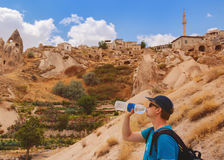 Tourist drinking  water Royalty Free Stock Image