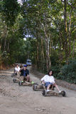 The tourist drive wooden  rickshaw go down the hill Stock Photo