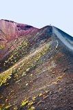 Tourist on edge crater, Etna Royalty Free Stock Images