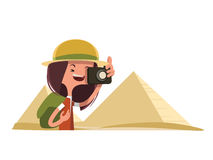 Tourist in Egypt taking photos  illustration cartoon character Stock Images