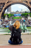 Tourist at Eiffel tower. Tourist taking pictures of Eiffel tower in Paris, France Stock Photography