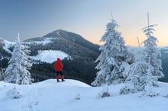 Tourist in einer Bergwanderung Stockbilder