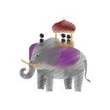 Tourist with elephant indian ride design Stock Photo