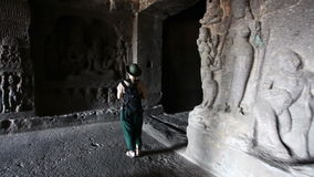 Tourist Ellora cave stock video footage