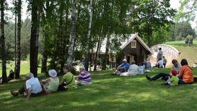 Tourist enjoy folk music stock video