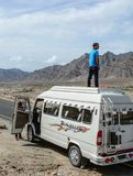 Tourist enjoying on mini van in Kashmir stock photos