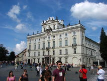 Tourist enjoying a nice summer day, Prague Castle Stock Images