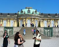 Tourist enjoying at Sanssouci palace in Potsdam Royalty Free Stock Photos