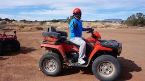 A tourist enjoys the desert ride in Sedona, Arizona. Stock Image