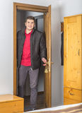 Tourist Entering in the Hostel Room Royalty Free Stock Photos