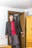 Tourist Entering in the Hostel Room Stock Image