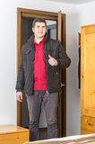 Tourist Entering in the Hostel Room Royalty Free Stock Photo