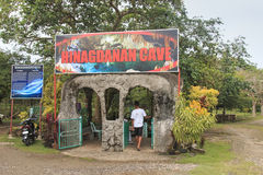 Tourist at the entrance of the Hinagdanan Cave one of the landmarks of Bohol Stock Image