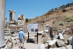 Tourist in Ephesus, Turkey. Tourist in tour of Ephesus, Turkey, the Middle East Stock Photos