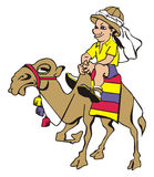 Tourist EPS. Cartoon: young amusing tourist - a traveler is astride on a camel Royalty Free Stock Image