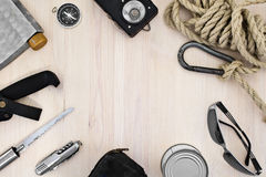 Tourist equipment. Set of items for recreation and tourism Royalty Free Stock Image