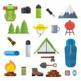 Tourist equipment set. Mountain hike camp tools. Equipment and footwear, equipment and dishes for traveling on rough terrain. Flat vector cartoon illustration Royalty Free Stock Image