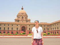 A tourist on the esplanade Rajpath.  New Delhi Royalty Free Stock Images