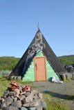Tourist ethnographic parking. Settlement Old Titovka, Murmansk region Stock Photography