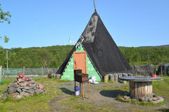 Tourist ethnographic parking. Settlement Old Titovka, Murmansk region Royalty Free Stock Images