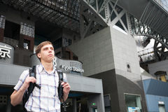Tourist from Europe in Kyoto Station in Japan Royalty Free Stock Photos