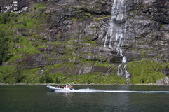 Tourist excursion. Across the geirangerfjord, Norway Royalty Free Stock Images