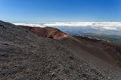 Tourist excursion to the volcano Etna, Catania Sicily Italy. Tourist excursion to the volcano Etna, Catania, Sicily Italy Royalty Free Stock Image