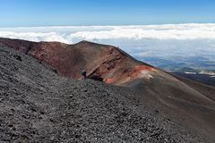Tourist excursion to the volcano Etna, Catania Sicily Italy. Tourist excursion to the volcano Etna, Catania, Sicily Italy Stock Images