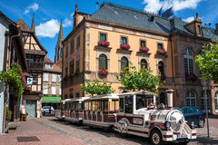 Tourist Excursion Train In A Obernai Town Center. France Royalty Free Stock Photo