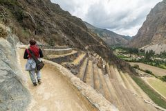 Tourist exploring the Inca Trails and the archaeological site at Ollantaytambo, Sacred Valley, travel destination in Cusco region,. Peru. Vacations and Royalty Free Stock Image