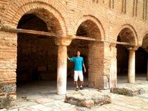 Tourist Exploring Ohrid Macedonia. Tourist exploring historical church in Ohrid, Macedonia Royalty Free Stock Photos