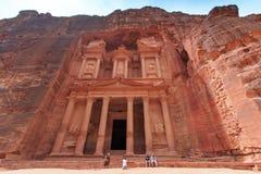 Tourist exploring the ruins of ancient Petra, Jordan Royalty Free Stock Photography