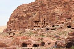 Tourist exploring the ruins of ancient Petra, Jordan Stock Photo