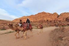 Tourist exploring the ruins of ancient Petra, Jordan Stock Image