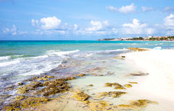 Tourist facilities and nature of Playa Del Carmen. Playa Del Carmen, Mexiico, panoramic view of the beach Stock Photos