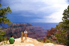 Tourist Family In Grand Canyon North Rim Stock Photos