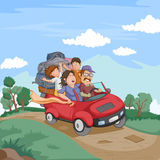 Tourist family traveling driving car with luggage Stock Images