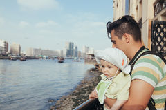 Tourist Father And Son Royalty Free Stock Photos