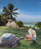 Tourist is feeding giant turtle. The girl tourist is feeding the giant turtle . Esmeralda is the oldest turtle in the world. Seychelles. The beautiful sky is Royalty Free Stock Photo
