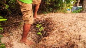 Tourist Feet Go along Path on Hill in Fairy-Stream Park stock footage