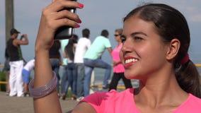 Tourist Female Taking Selfie stock video